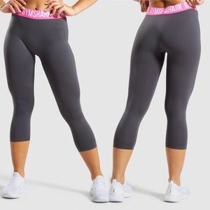 Gymshark Gray Pink Fit Seamless Cropped Leggings S